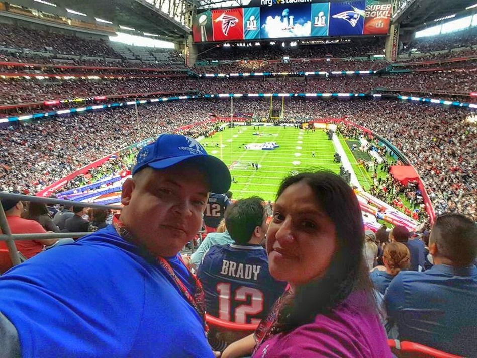 Wounded Warrior Project veteran Marcelino Gonzalez and his wife enjoy the Super Bowl, courtesy of support from the NFL.