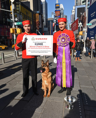 """Cunard presents Rumor, a German shepherd, winner of Westminster Kennel Club's """"Best in Show,"""" and her family with a sailing on Queen Mary 2 during a photo op in New York's Times Square, Wednesday, Feb. 15, 2017. Cunard, a first-time sponsor of the Westminster show, is the only passenger liner to carry pets across the Atlantic on its signature Transatlantic Crossing. (Photo by Diane Bondareff/Invision for Cunard/AP Images)"""