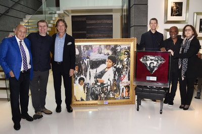 """Featured in the photo left to right are:  Doug Morris (Chief Executive Officer, Sony Music), Rob Stringer (Chairman & CEO, Columbia Records), John Branca (Co-Executor of the Estate of Michael Jackson), Richard Story (President, Commercial Music Group),   Antonio """"L.A."""" Reid (Chairman & CEO, Epic Records), and Karen Langford (Estate of Michael Jackson)."""