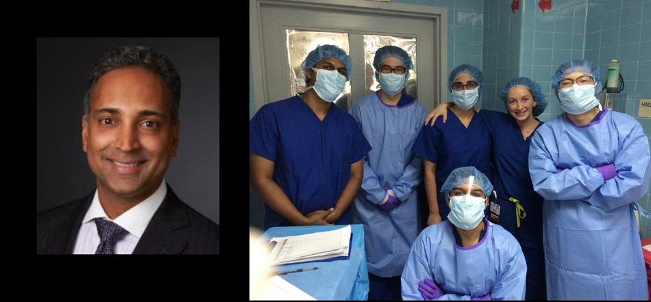 Dr. Vivek Patel (left) is the USC Roski Eye Institute residency program director. Dr. Jesse Berry (second from right in back row), associate residency program director at USC Roski Eye Institute, photographed with residents at LAC+USC Medical Center.