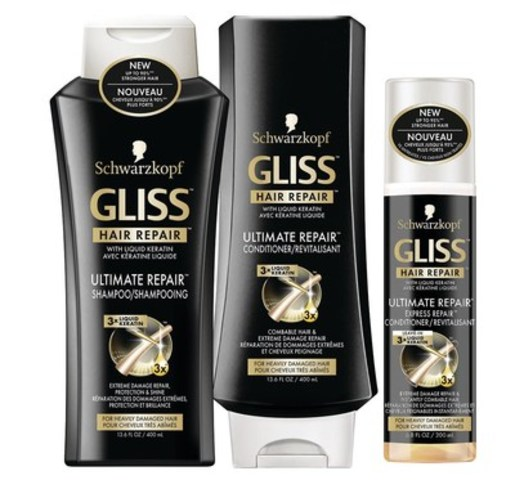 GLISS Ultimate Repair, a high-performance formula with 3x liquid keratin to repair extreme hair damage up to 10 layers deep, is now available in Canada at Shoppers Drug Mart. (CNW Group/Henkel Canada)