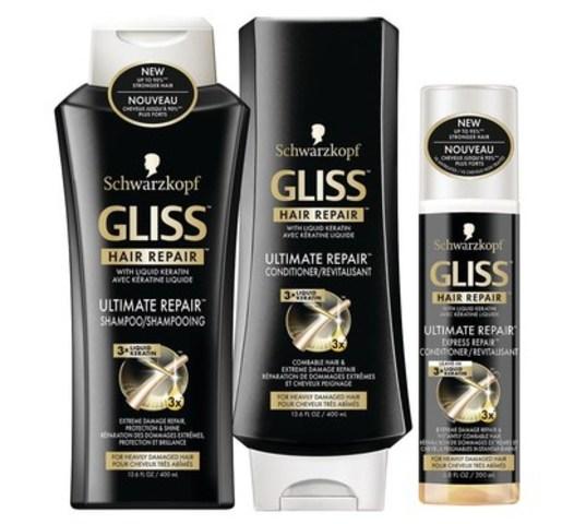 GLISS Ultimate Repair, une formule de haut rendement avec trois fois plus de kératine liquide afin de réparer les cheveux extrêmement endommagés à une profondeur de dix couches, est maintenant disponible chez Pharmaprix. (Groupe CNW/Henkel Canada)