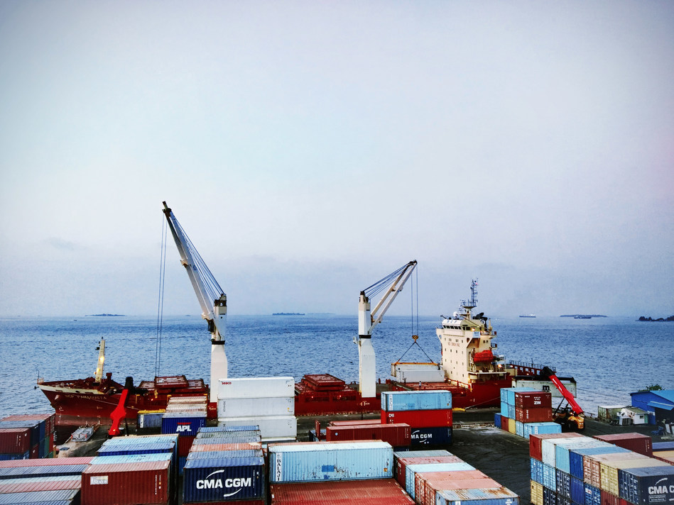 SANY reach stackers unloading containers at Male Port, in Maldives