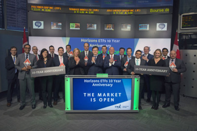 Steve Hawkins, President and Co-CEO, Horizons ETFs, joined Dani Lipkin, Head, Business Development, Exchange Traded Funds, Closed-End Funds, and Structured Notes, TMX Group to celebrate ten years since listing their first Exchange Traded Funds (ETFs) on Toronto Stock Exchange. Horizons ETFs is a financial services company and a subsidiary of the Mirae Asset Financial Group. On January 8, 2007, Horizons listed its first two ETFs on Toronto Stock Exchange, Horizons BetaPro S&P/TSX 60 Bull Plus ETF (HXU) and Horizons BetaPro S&P/TSX 60 Bear Plus ETF (HXD). As at December 31, 2016, Horizons had 76 ETFs listed on TSX with a market capitalization of over $6.2 billion, and added another listing in January. (CNW Group/TMX Group Limited)