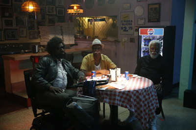 Baron Davis, JB Smoove and Kyrie Irving on set for a new Uncle Drew clip All-Star Game.