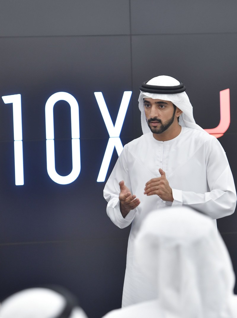 His Highness Sheikh Hamdan bin Mohammed, Crown Prince of Dubai, discussing 10x with government heads (PRNewsFoto/Dubai Future Foundation)