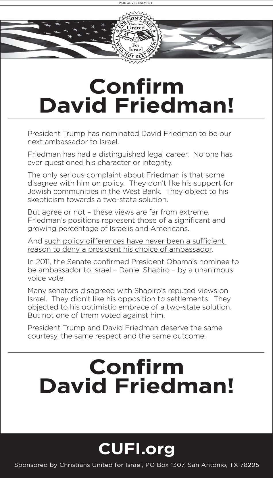 Christians United for Israel ran full page ads in The Washington Post, The Hill and Roll Call calling on senators to support Pres. Donald Trump's nominee to be the US Ambassador to Israel, David Friedman.