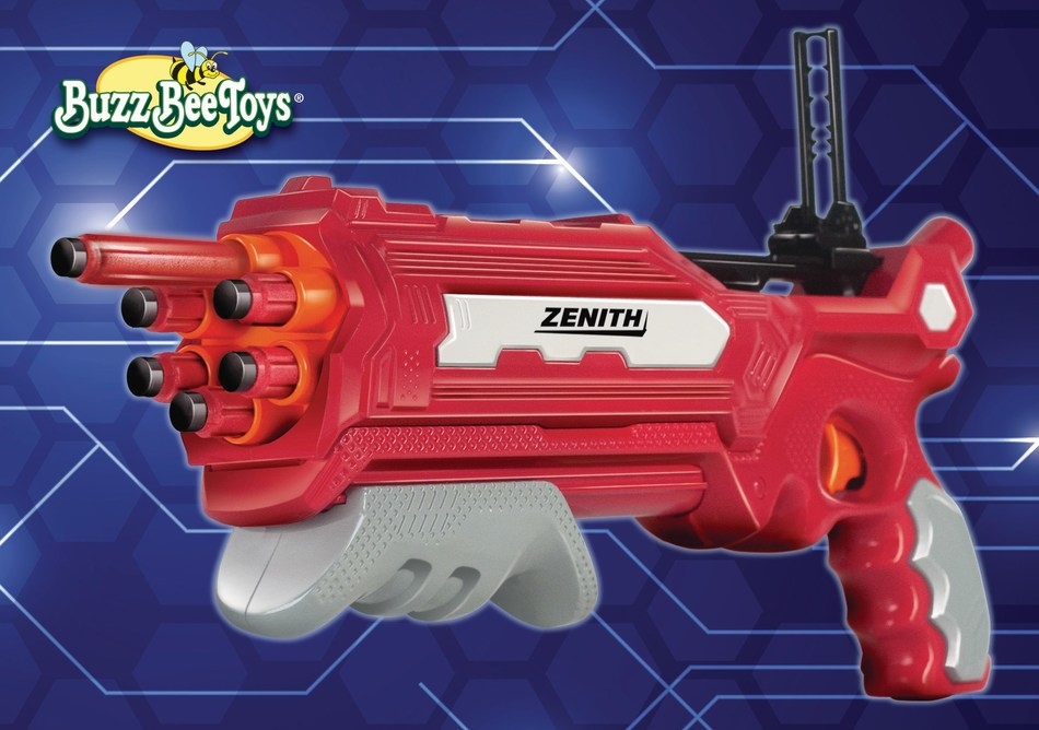 Air Warriors Zenith is one of 15 new blasters unveiled by Buzz Bee Toys, a division of Alex Brands, in a new collection featuring fresh, sleek designs, and new focus on dart performance and accuracy.