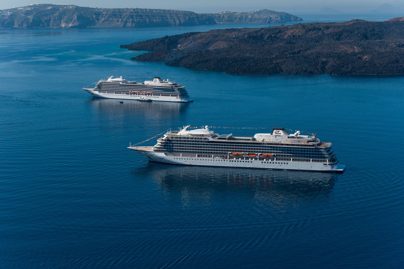 """The first two ships from Viking Ocean Cruises, Viking Star and Viking Sea, pictured near Santorini, Greece. Viking dominated the 2017 Cruise Critic Cruisers' Choice Awards with the two ships taking top honors in 10 categories, including """"Best Overall"""" and """"Best for First-Timers."""" For more information, visit www.vikingoceancruises.com"""