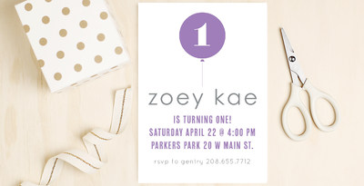 Instantly customizable first birthday invitations by Basic Invite.