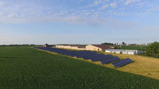 Installations such as the 400 kw solar field at Steffensmeier Welding & Manufacturing of Pilot Grove, Iowa would be affected by the new net metering rules.