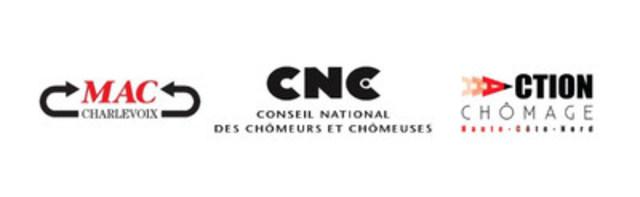 Logos: MAC Charlevoix, Conseil national des chômeurs et chômeuses (CNC), Action Chômage Haute-Côte-Nord (Groupe CNW/Action Chômage Haute-Côte-Nord)