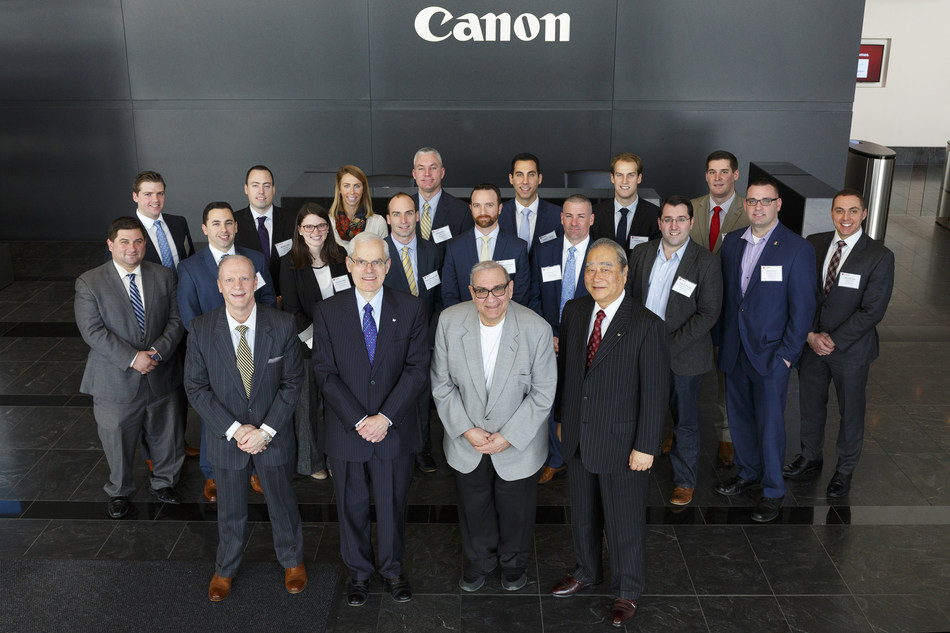 Pictured in the front row from left to right are Anthony Dalessio, chair of the LIA Young Professionals Committee, Canon U.S.A., Inc. Executive Vice President Seymour Liebman, Town of Huntington Supervisor Frank Petrone and Canon U.S.A., Inc. Chairman and Chief Executive Officer Joe Adachi with members of the Long Island Association's Young Professionals Committee.