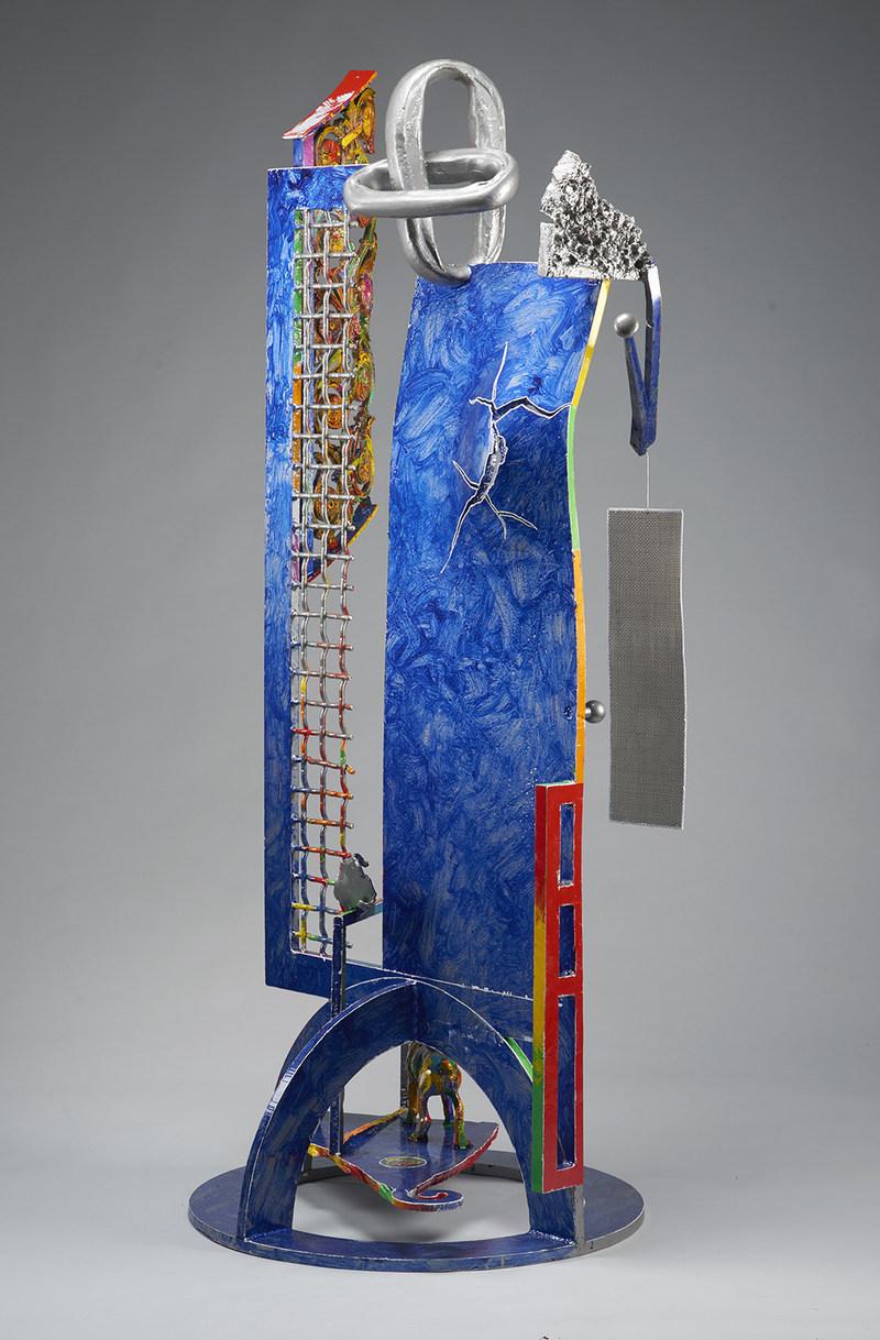 "Robert Hudson | Blue | 2015 | steel, ornamental bronze, stainless steel screen, found object, powder coat, acrylic paint, clear coat | 77"" x 38"" x 30"""