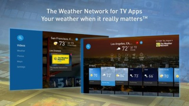 The Weather Network offers live streaming capabilities on all major Smart TVs and streaming media players. TV Apps and live streaming offerings from The Weather Network help users with their planning and safety needs.  The services provide comprehensive local weather information for cities around the world along with maps, warnings & alerts, user generated content, and a large collection of on-demand video content. (CNW Group/The Weather Network)