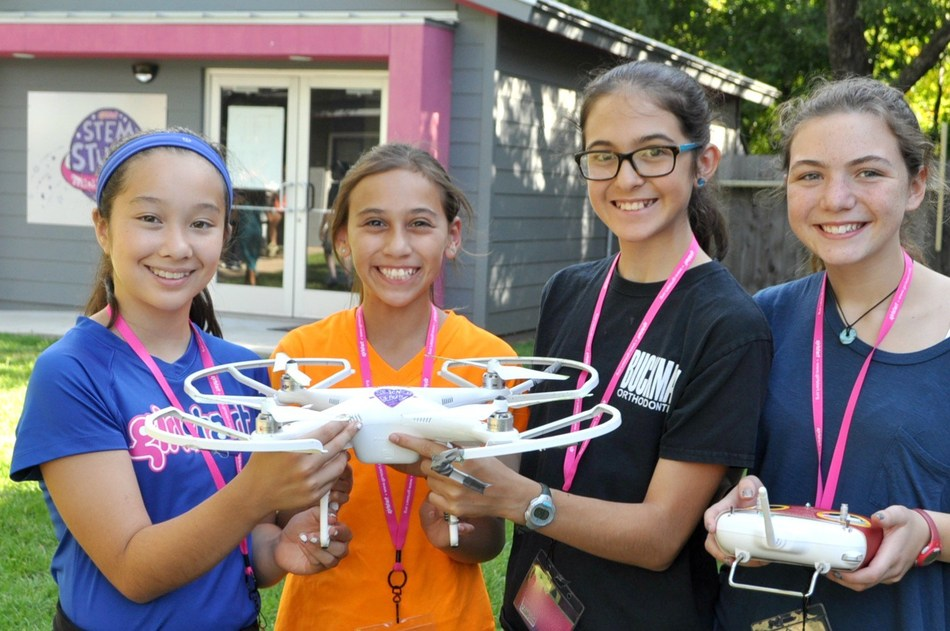 At Girlstart, girls engage in activities across the STEM spectrum, including quadcopter drone flying.