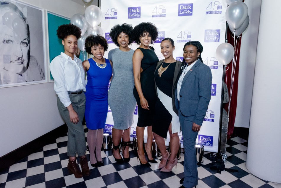 Actress and singer Demetria McKinney and the 2017 recipients of Dark and Lovely's Young Women with a Purpose Scholarship in partnership with The Tom Joyner Foundation at Dark and Lovely's 45th Anniversary celebration.