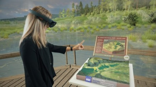 With this breakthrough technology, anyone can stand in an engineered mining landscape at closure in a realistic 3-D interactive and immersive experience. (CNW Group/BGC Engineering Inc)