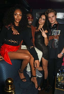 LONDON, ENGLAND - FEBRUARY 18:  (L to R) Jourdan Dunn, Tinie Tempah, Adriana Lima and DJ Neels Visser attend Maybelline's Bring On The Night  London Fashion Week party at The Scotch of St James on February 18, 2017 in London, England.   Pic Credit: Dave Benett (PRNewsFoto/Beauty Seen)