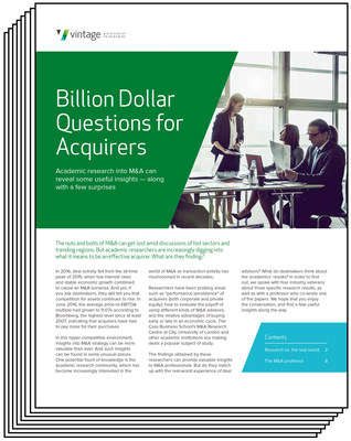 NEW WHITEPAPER: Billion Dollar Questions for Acquirers ~ Academic research into M&A can reveal some useful insights -- along with a few surprises