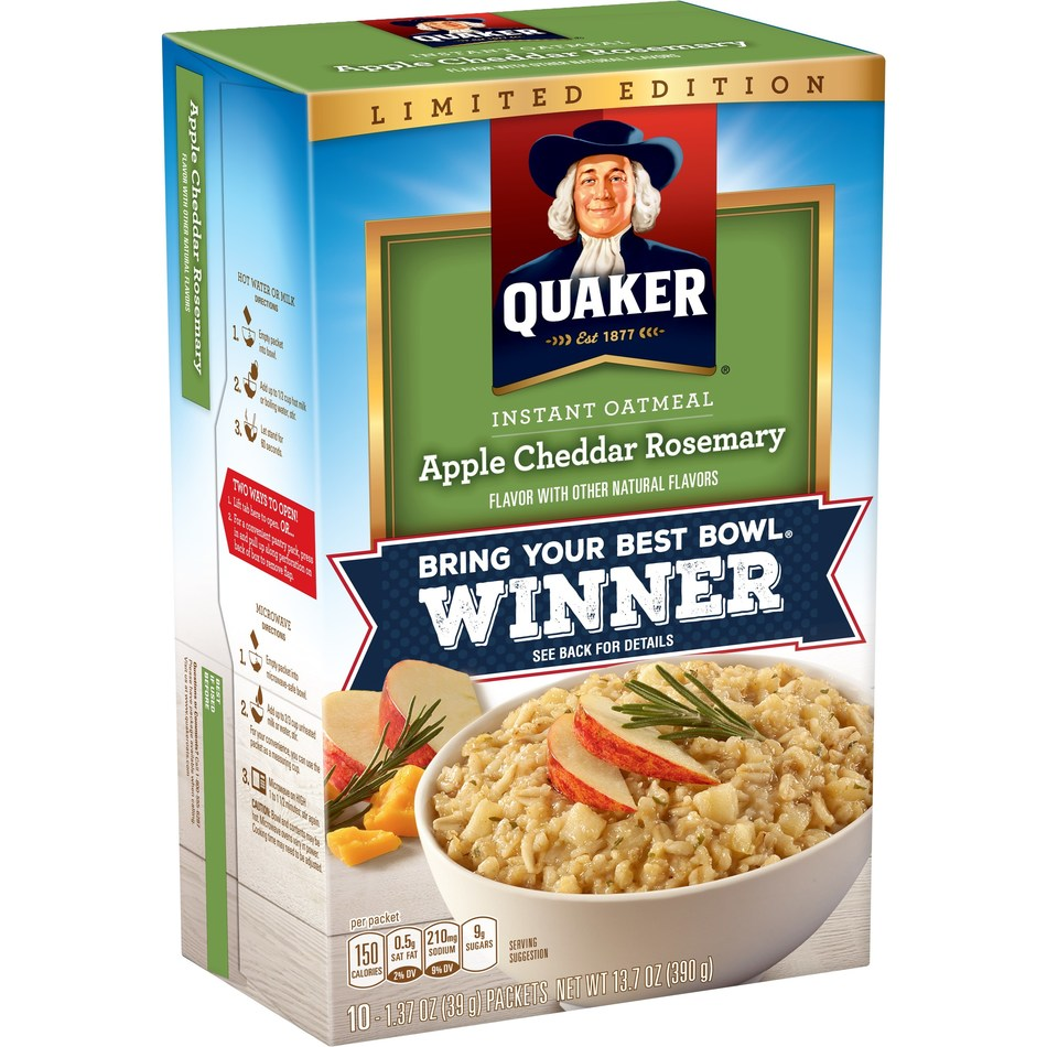 Apple Cheddar Rosemary Instant Oatmeal, winner of Quaker's Bring Your Best Bowl flavor contest, is now available for a limited time on store shelves nationwide.