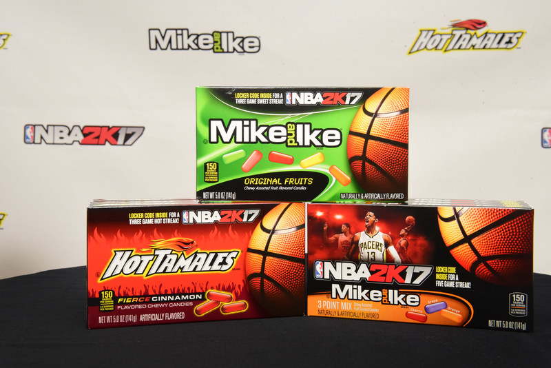 MIKE AND IKE(R) and HOT TAMALES(R) Brand candies teamed up with four-time NBA All-Star and NBA 2K17 featured cover athlete, Paul George, to introduce a new line up of NBA 2K17 promotional packages at basketball's big weekend on Friday, Feb. 17, 2017, in New Orleans, LA.  Just Born Quality Confections and the MIKE AND IKE(R) and HOT TAMALES(R) brands partnered with 2K Sports and their leading sports video game, NBA 2K17. (Cheryl Gerber/AP Images for Just Born Quality Confections)