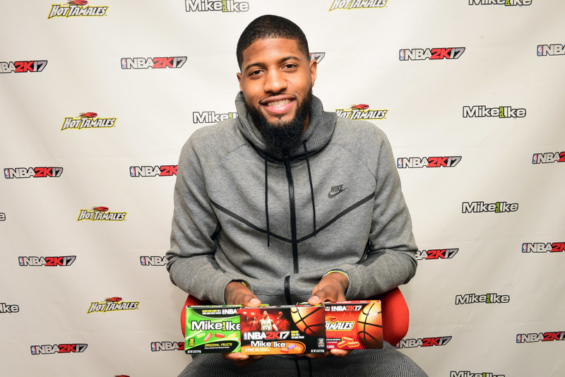 Four-time NBA All-Star and NBA 2K17 featured cover athlete, Paul George, introduces a sweet new line up, which debuted at basketball's big weekend on Friday, Feb. 17, 2017, in New Orleans, LA. Just Born Quality Confections and the MIKE AND IKE(R) and HOT TAMALES(R) brands partnered with 2K Sports and their leading sports video game, NBA 2K17. (Cheryl Gerber /AP Images for Just Born Quality Confections)