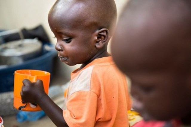 On February 17, Emmanuel John, a one-and-a-half-year-old malnourished child, drinks milk at the malnutrition ward in Al Shabbab hospital in Juba, South Sudan. Ongoing insecurity, combined with an economic crisis that has pushed inflation above 800 percent, has also created widespread food insecurity, with malnutrition among children having reached emergency levels in most parts of the country. Photo: Albert Gonzalez Farran/UNICEF (CNW Group/UNICEF Canada)
