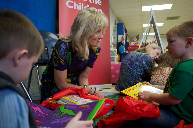 Save the Children Board Chair Dr. Jill Biden reads to preschool students Gus Mathis (right), 4, and Cole Swindle, 4, at Linden Elementary School in Linden, Tenn., on Feb. 15, 2017.  Photo by Shawn Millsaps for Save the Children.