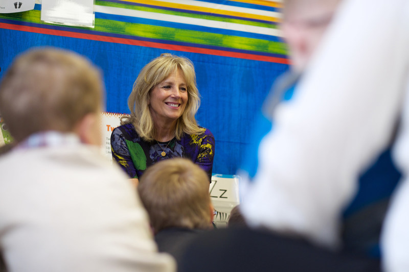 Dr. Jill Biden, Save the Children's new Board Chair, visits with preschoolers at Linden Elementary School in Linden, Tenn. on Feb. 15, 2017.  Photo by Shawn Millsaps for Save the Children.