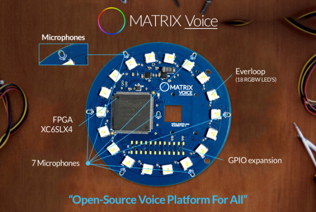 MATRIX Voice by MATRIX Labs: Measuring 3.14-inches in diameter, the new MATRIX Voice dev board features voice recognition integration with Google Voice and Amazon Alexa.  It offers a radial array of 7 MEMS microphones connected to a Xilinx Spartan6 FPGA and 64 Mbit SDRAM, which, when combined provides developers with the opportunity to integrate custom voice and other hardware-accelerated machine learning algorithms right onto the silicon. Voice also includes 64 GPIO pins and much more.