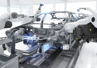 The ZEISS AIMax cloud optical 3D sensor captures 3D point clouds directly on the car body production line