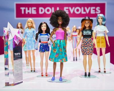 """Mattel received the highly coveted Toy of the Year (T.O.T.Y.) award in the """"Doll of the Year"""" category for Barbie Fashionistas. In 2016, the Barbie brand introduced three new body types, curvy, tall and petite, along with new skin tones, hair types and countless fashions making the Barbie Fashionistas line the most diverse doll line to date. The award was presented Friday evening in New York at the Toy Industry Association's Annual T.O.T.Y Awards gala."""