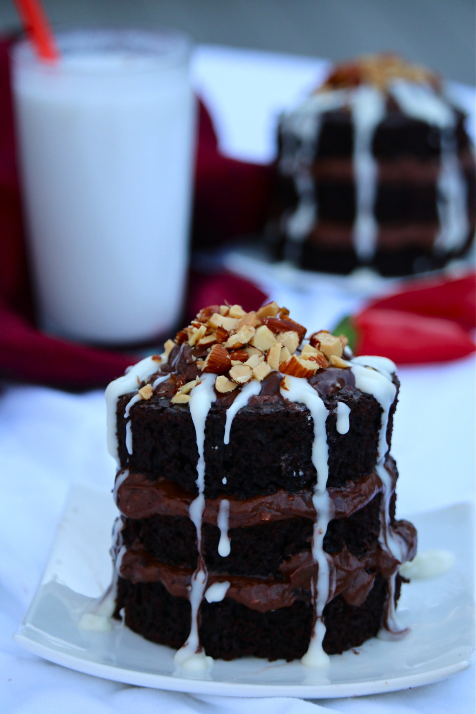 Smoky Chili Chocolate Cake with Chocolate Kahlua Milk Frosting & Vanilla Milk Drizzle created by Merry Graham from Newhall, CA. Photo credit: Merry Graham