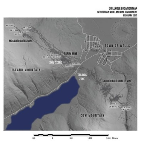Drill Location Map with terrain model and mine development February 2017 (CNW Group/Barkerville Gold Mines Ltd.)