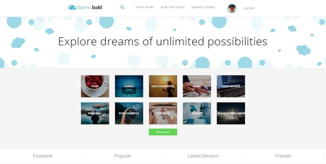 Explore page of the dreams.build platform