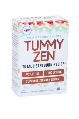 Developed by Yale University School of Medicine, TummyZen's patented, zinc salt formula provides fast-acting, long lasting heartburn relief and also helps support stomach lining without the same side effects associated with other heartburn products. TummyZen is available at most Target stores in a 30-count package with a retail price of $6.99 - $7.99. A 50-count package for $9.99 - $10.99 will follow. Visit www.TummyZen.com or connect with the brand on Facebook at www.Faceobok.com/TummyZen.