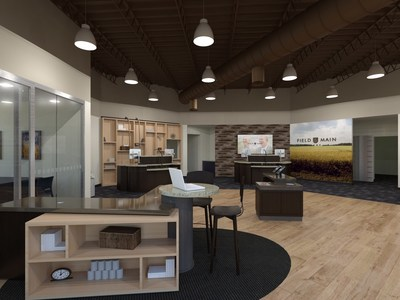 The contemporary Field & Main Bank in Cynthiana, Ky., uses fully equipped freestanding service desks in place of a traditional teller counter, facilitating more direct and seamless interactions with clients. Freestanding service desks, or teller pods, enable relationship bankers to interact more directly with customers and demonstrate electronic services on computers and mobile devices.
