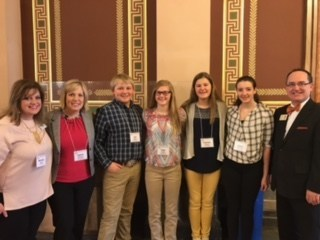 Michelle Hartz (Success for All), Valerie Sitzman and students from Kingsley Middle School, along with Paul Gibbons, North Central Regional STEM Manager of the Governor's STEM Advisory Council enjoy the Iowa STEM day.