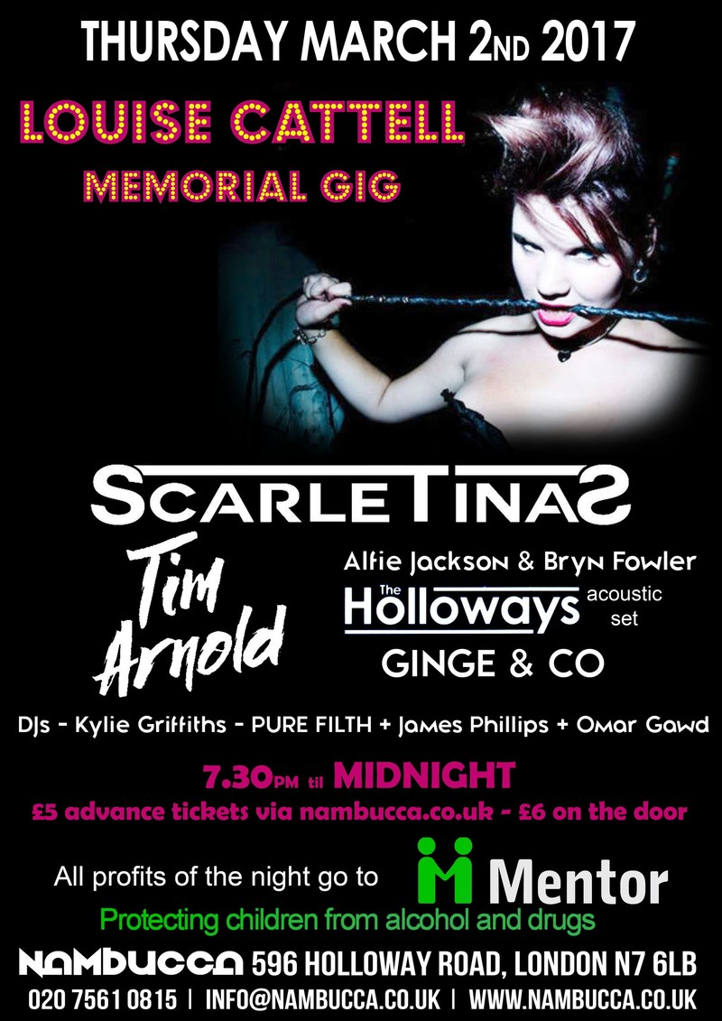 Louise Cattell Memorial Gig in Aid of Mentor UK (PRNewsFoto/Mentor)