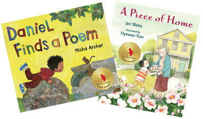The 2017 Ezra Jack Keats Book Award winner for illustration is Micha Archer, for Daniel Finds a Poem (left; published by Nancy Paulsen Books, an imprint of Penguin Random House). The winner for writing is Jeri Watts, for A Piece of Home (right; published by Candlewick Press). This award recognizes talented authors and illustrators early in their careers whose picture books, in the spirit of Keats, portray the multicultural nature of our world.