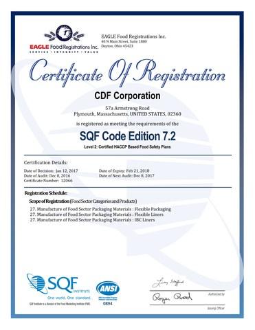 sqf certification packaging cdf achieves level flexible corporation prnewswire