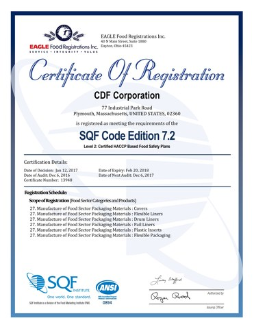Drum & Pail SQF Certification