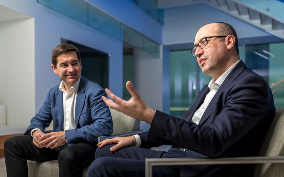 BBVA CEO Carlos Torres, left, and BBVA Compass CEO Onur Genç.