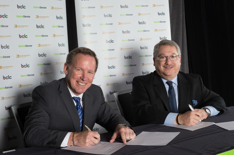 Landmark Agreement for Responsible Gambling: MGM Resorts Adopts BCLC's GameSense Program. (L-R: Jim Lightbody, President and CEO, BCLC. Alan Feldman, Exec. VP of Global Industry Affairs, MGM Resorts).
