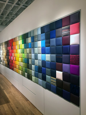 A 30-foot-long material and color spectrum called the Swatch Wall comprises hundreds of wall-mounted upholstery tiles and offers a glimpse of the more than 3,000 custom options available from Maharam, Knoll(R), Edelman(R) Leather, Spinneybeck(R) and more.