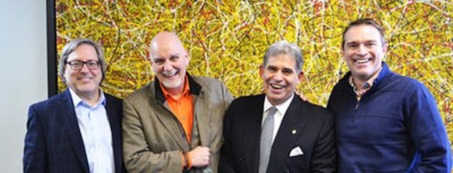 Rideau annonce un partenariat avec Adrian Gostick et Chester Elton.  De gauche à droite: Jean-François Grou (Président et chef de l'exploitation chez Rideau), Chester Elton, Peter Hart (Directeur et chef de la direction chez Rideau), et Adrian Gostick. (Groupe CNW/Torchia communications (MTL))