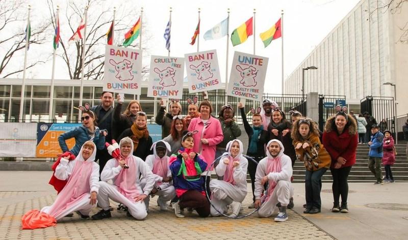 @CrueltyFreeIntl calls on UN for resolution to end animal testing for cosmetics (PRNewsFoto/Cruelty Free International)