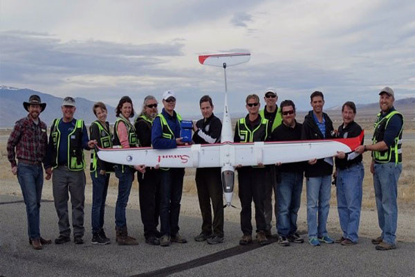 The Nevada Team poses for a photo immediately after the historic Package Delivery on February 15th, 2017.  Credit: Betty Easley, Hawthorne Industrial Airport.
