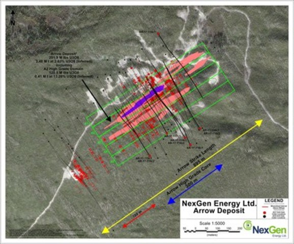 Figure 3: Arrow Deposit Drill Hole Locations (CNW Group/NexGen Energy Ltd.)
